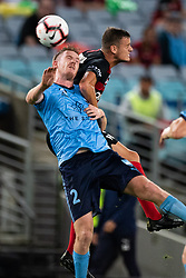 December 15, 2018 - Sydney, NSW, U.S. - SYDNEY, NSW - DECEMBER 15: Sydney FC defender Aaron Calver (2) and Western Sydney Wanderers forward Oriol RieraÊ(9) go up for the ball at the Hyundai A-League Round 8 soccer match between Western Sydney Wanderers FC and Sydney FC at ANZ Stadium in NSW, Australia on December 15, 2018. (Photo by Speed Media/Icon Sportswire) (Credit Image: © Speed Media/Icon SMI via ZUMA Press)
