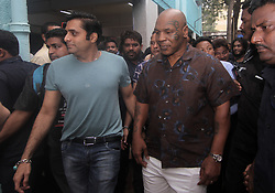 September 29, 2018 - Mumbai, Maharashtra, India - Former US boxer Mike Tyson visits a school located in Dharavi slum during his visit in Mumbai on September 29, 2018.  .He is in Mumbai to promote the launch of the Kumite 1 League mixed martial arts competition. (Credit Image: © Prash Way/NurPhoto/ZUMA Press)