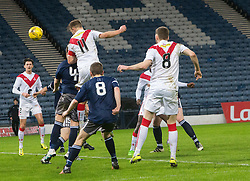 Airdrie's Iain Russell scoring their goal. half time : Queen's Park 1 v 1 Airdrie, Scottish Football League Division One game played 7/1/2017 at Hampden.