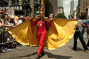 A costumed marcher in the 2011 Pride Parade on New York's Fifth Avenue.