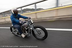 Toshihiro Ogasawara riding his Sureshot custom 1942 Harley-Davidson FL Knucklehead on the SureShot ride around Chiba, Japan. Saturday, December 8, 2018. Photography ©2018 Michael Lichter.