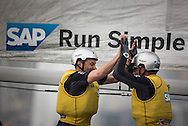The Extreme Sailing Series 2015. Act3. Qingdao. China. SAP Extreme Sailing Team celebrate after winning the act today.<br /> Credit - Lloyd Images