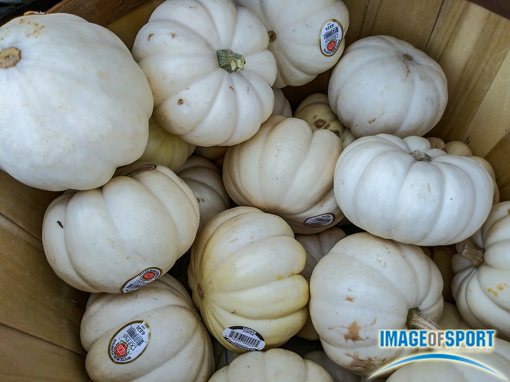 White Pumpkins on display in front the grocery store 1430 S Fairfax Ave in Los Angeles on Sunday September 27, 2020 (Jevone Moore/Image of Sport)