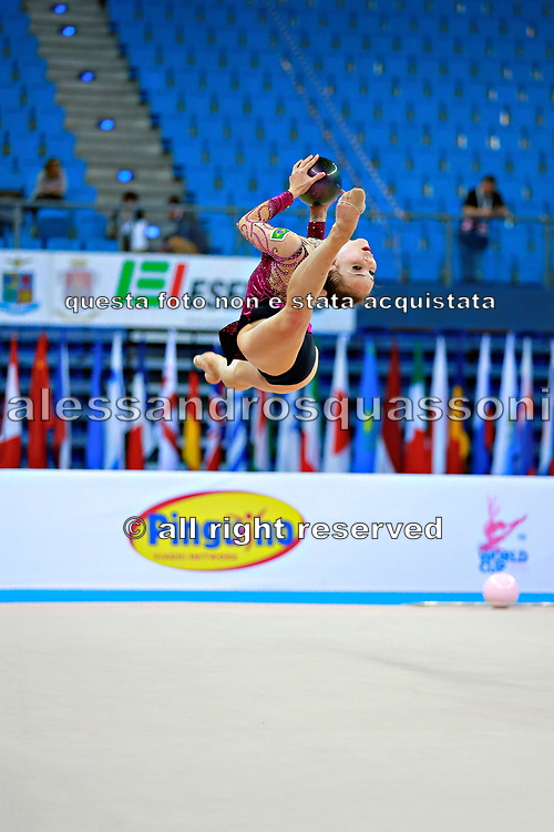 Kvieczynski Angelica during qualifying at ball in Pesaro World Cup at Adriatic Arena on 10 April 2015.  Angelica is a Brazilian individual rhythmic gymnast  born September 1, 1991 in Toledo, Brazil.
