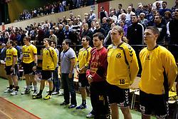 Players of Gorenje Velenje during handball match between RK Gorenje Velenje and RK Cimos Koper in 13th Round of 1. NLB Leasing Slovenian handball league, on December 07, 2011 in Rdeca dvorana, Velenje, Slovenia. Gorenje Velenje defeated Cimos Koper 31-25. (Photo By Vid Ponikvar / Sportida.com)