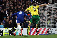 Alvaro Morata of Chelsea (L) simulates under pressure from Christoph Zimmermann of Norwich City (R). The Emirates FA Cup, 3rd round replay match, Chelsea v Norwich City at Stamford Bridge in London on Wednesday 17th January 2018.<br /> pic by Steffan Bowen, Andrew Orchard sports photography.