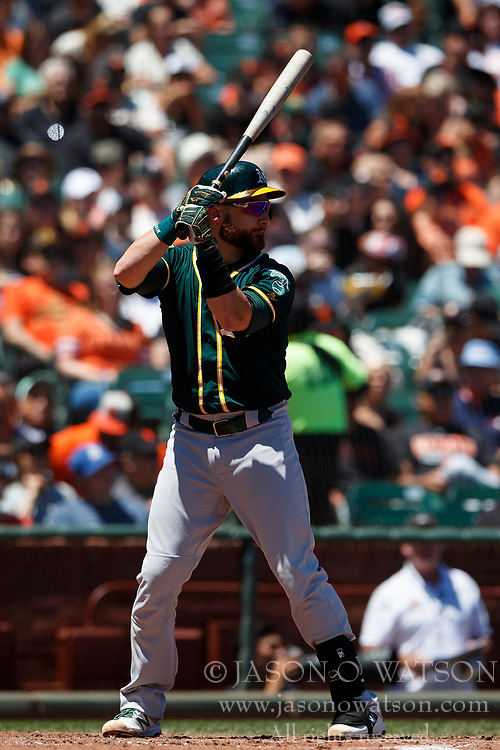 SAN FRANCISCO, CA - JULY 15: Jonathan Lucroy #21 of the Oakland Athletics at bat against the San Francisco Giants during the fourth inning at AT&T Park on July 15, 2018 in San Francisco, California. The Oakland Athletics defeated the San Francisco Giants 6-2. (Photo by Jason O. Watson/Getty Images) *** Local Caption *** Jonathan Lucroy