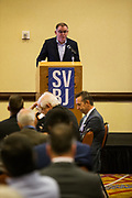 Josh Moss, Silicon Valley Business Journal Editor-in-Chief, welcomes attendees to the Silicon Valley Business Journal's Future of Fremont event at Fremont Marriott Silicon Valley in Fremont, California, on June 18, 2019.  (Stan Olszewski for Silicon Valley Business Journal)