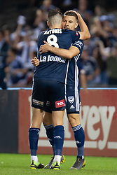 February 23, 2019 - Melbourne, VIC, U.S. - MELBOURNE, VIC - FEBRUARY 23: Melbourne Victory midfielder Terry Antonis (8)  celebrates with Melbourne Victory forward Kosta Barbarouses (9) at round 20 of the Hyundai A-League Soccer between Melbourne City FC and Melbourne Victory on February 23, 2019 at Marvel Stadium, VIC. (Photo by Speed Media/Icon Sportswire) (Credit Image: © Speed Media/Icon SMI via ZUMA Press)