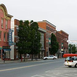 The storefronts of Railroad Street in St Johnsbury Vermont USA