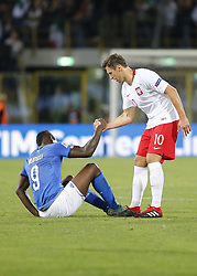 September 7, 2018 - Bologna, Italy - Grzegorz Krychowiak and Mario Balotelli during Uefa Nation League 2018 match between Italia v Polonia, in Bologna, on September 7, 2018  (Credit Image: © Loris Roselli/NurPhoto/ZUMA Press)