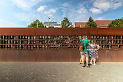 A view of the 'Window of Remembrance' memorial for the victims of the Berlin Wall on Bernauer street in Berlin, Germany, August 12, 2021. The order for the start of the construction of the Berlin wall was issued on 13 August, 1961. The barrier which consists of roughly 43 kilometer of concrete wall, watch towers, check-points, barbed wire and mines, creating a border strip separating the former Western Allies' enclave of West Berlin, from the rest of the city under DDR control. The wall stood until the 9th of November, 1989.