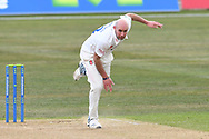 Chris Rushworth of Durham bowling from the Pavilion End during the LV= Insurance County Championship match between Nottinghamshire County Cricket Club and Durham County Cricket Club at Trent Bridge, Nottingham, United Kingdom on 11 April 2021.