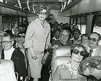1978 Actress, Vivian Blaine on a Greyhound bus going to the Hollywood Brown Derby restaurant on Vine St.