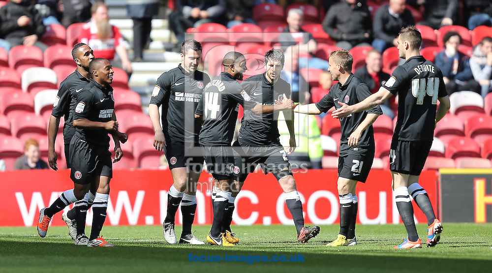 Picture by Paul Gaythorpe/Focus Images Ltd +447771 871632.27/04/2013.Charlton Athletic players congratulate Bradley Pritchard on scoring the opening goal against Middlesbrough during the npower Championship match at the Riverside Stadium, Middlesbrough.