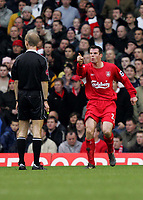 Photo:Ryan Browne/Back Page Images.<br />Liverpool v Chelsea, FA Barclays Premiership, Anfield, 01/01/05<br />Liverpools Jamie Carragher appeals to referee mike riley for hand ball