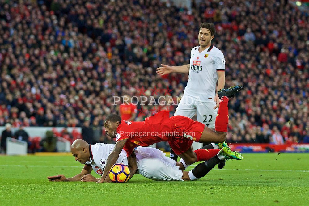 LIVERPOOL, ENGLAND - Sunday, November 6, 2016: Liverpool's Georginio Wijnaldum in action against Watford's Younes Kaboul during the FA Premier League match at Anfield. (Pic by David Rawcliffe/Propaganda)