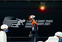 Itzhak de Laat of Netherlands in action on 1500 meter during ISU World Short Track speed skating Championships on March 05, 2021 in Dordrecht