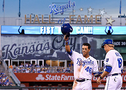 June 7, 2017 - Kansas City, MO, USA - The Kansas City Royals' Ramon Torres (46) acknowledges the cheers from the crowd after an RBI double for Torres' first major league hit in the fourth inning against the Houston Astros at Kauffman Stadium in Kansas City, Mo., on Wednesday, June 7, 2017. (Credit Image: © John Sleezer/TNS via ZUMA Wire)
