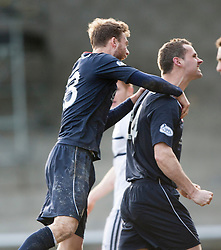 Falkirk's David McCracken celebrates after scoring their second goal.<br /> Raith Rovers 2 v 4 Falkirk, Scottish Championship game today at Starks Park.<br /> © Michael Schofield.