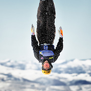 A course forerunner makes a test jump to confirm that the course is ready for the start of competition at the 2009 Sprint US Freestyle Championships held at the Utah Olympic Park in Park City on March 8, 2009.