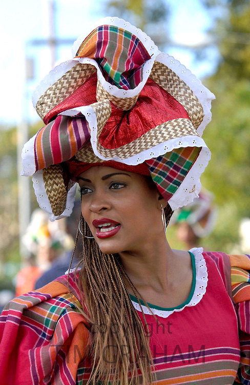 A lady wearing the Jamaican National costume, during  the Cultural Presentation in Kingston, Jamaica