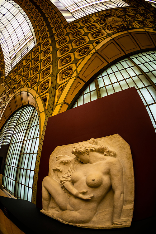 """Baigneuse"" (1902) plaster, by Aristide Maillol,Musee d""Orsay,  a museum in Paris, France, on the Left Bank of the Seine. It is housed in the former Gare d'Orsay, a Beaux-Arts railway station built between 1898 and 1900."