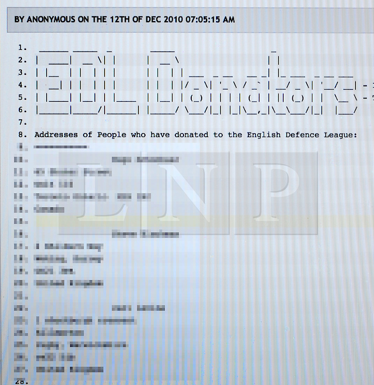 """CAPTION CORRECTION.. Names and ADDRESSES where included in the list...© under license to London News Pictures.12/12/2010. A list of names and addresses of hundreds of English Defense League (EDL) supporters who bought clothing from the groups website has been leaked by hackers. The 816 name list which includes """"Head of EDL security"""" Leon Mccreery was quickly removed after being published late last night (Sun)on a public website. Photo credit should read: Stephen Simpson/LNP"""