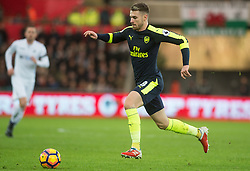 SWANSEA, WALES - Saturday, January 14, 2017: <br /> Arsenal's Aaron Ramsey in action against Swansea City during the FA Premier League match at the Liberty Stadium. (Pic by Gwenno Davies/Propaganda)