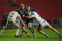 Rugby Union - 2020 / 2021 Gallagher Premiership - Bristol Bears vs Bath - Ashton Gate<br /> <br /> Bristol Bears' Callum Sheedy is tackled by Bath Rugby's Mike Williams and Cameron Redpath.<br /> <br /> COLORSPORT