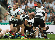Twickenham, Surrey, United Kingdom. Ruan PIENAAR, psses out the ball,  during the, Old Mutual Wealth Cup, England vs Barbarian's match, played at the  RFU. Twickenham Stadium, on Sunday   28/05/2017England    <br /> <br /> [Mandatory Credit Peter SPURRIER/Intersport Images]