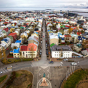 The colorful houses and capital city of Reykjavík, Iceland, as seen from above in the Hallgrímskirkja church observation tower.