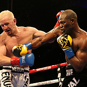 VERONA, NY - JUNE 09:  Francy Ntetu (R) punches Brian Holstein during a ShoBox boxing match at the Turning Stone Resort Casino on June 9, 2017 in Verona, New York. (Photo by Alex Menendez/Getty Images) *** Local Caption *** Francy Ntetu; <br /> Brian Holstein
