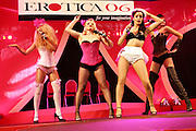 A group of showgirls is performing at the Erotica 2006 show in London, UK, on Friday, Nov. 17, 2006. Erotica is the world's largest adult lifestyle show. It attracts about 80,000 visitors every year with its over 150 retailer exhibitors, dazzling and decadent transvestite cabaret shows, fun foreplay seminars, beautiful lingerie collections, art and fetish demonstrations. **Italy Out**