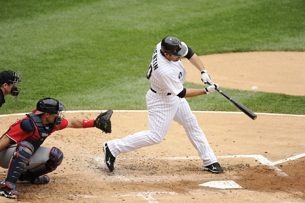 CHICAGO - JUNE 25:  Carlos Quentin #20 of the Chicago White Sox bats against the Washington Nationals on June 25, 2011 at U.S. Cellular Field in Chicago, Illinois.  The White Sox defeated the Nationals 3-0.  (Photo by Ron Vesely)   Subject:  Carlos Quentin