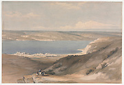 Sea of Galilee looking Towards Bashan Color lithograph by David Roberts (1796-1864). An engraving reprint by Louis Haghe was published in a the book 'The Holy Land, Syria, Idumea, Arabia, Egypt and Nubia. in 1855 by D. Appleton & Co., 346 & 348 Broadway in New York.
