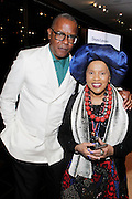 May 10, 2016- New York, NY: United States: (L-R) Photographer/Author Jamel Shabazz and Actrress/Philanthropist Sherry Bronfman attend the Aperture Magazine Launch for the Vision & Justice Issue held at the Ford Foundation on May 10, 2016 in New York City.  Aperture, a not-for-profit foundation, connects the photo community and its audiences with the most inspiring work, the sharpest ideas, and with each other—in print, in person, and online. (Terrence Jennings/terrencejennngs.com)