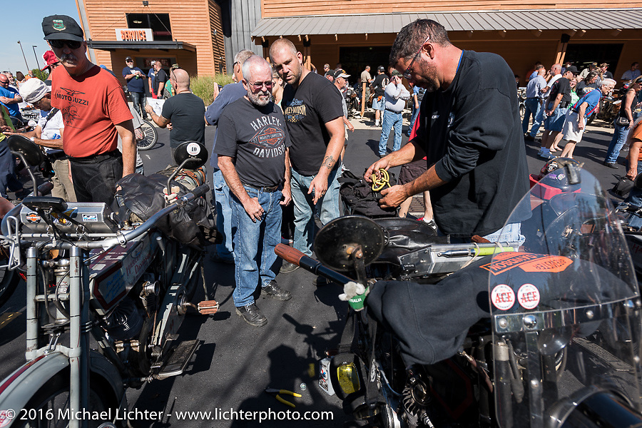 Hosted lunch stop at Powder Keg Harley-Davidson in Mason OH during the Motorcycle Cannonball Race of the Century. Stage-4 from Chillicothe, OH to Bloomington, IN. USA. Tuesday September 13, 2016. Photography ©2016 Michael Lichter.
