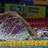 Maria Ugolkova of Switzerland competes in the Women's 200m Individual Medley final of the FINA Swimming World Cup held in Budapest, Hungary on Oct. 9, 2021. ATTILA VOLGYI