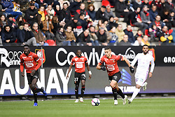 October 28, 2018 - Rennes, France - 18 HATEM BEN ARFA (REN) - 07 ISMAILA SARR (REN) - 20 TRISTAN DINGOME  (Credit Image: © Panoramic via ZUMA Press)