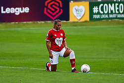 Abi Harrison of Bristol City Women takes a knee to the Black Lives Matter Movement prior to kick off- Mandatory by-line: Will Cooper/JMP - 18/10/2020 - FOOTBALL - Twerton Park - Bath, England - Bristol City Women v Birmingham City Women - Barclays FA Women's Super League
