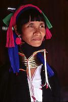 woman of the Paduang ethnic group (the Giraffe women) in Burma - Photograph by Owen Franken