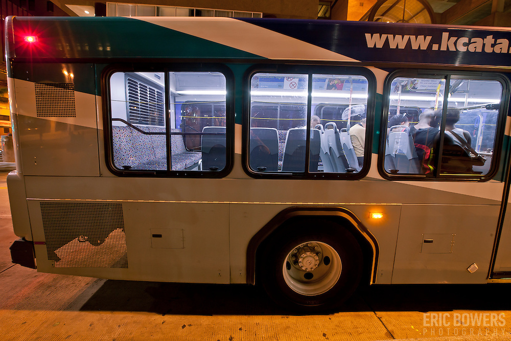 Buses at 10th and Main Transit Center, downtown Kansas City, Missouri.