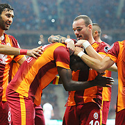 Galatasaray's Aurelien Bayard Chedjou Fongang (C) celebrate his goal with team mate during their Turkish Super League soccer match Galatasaray between Sivasspor at the TT Arena at Seyrantepe in Istanbul Turkey on Friday, 26 September 2014. Photo by Kurtulus YILMAZ/TURKPIX
