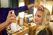 CRAWLEY, WEST SUSSEX, UK, OCTOBER 27TH 2011. Journalist / writer Andrea Sachs is primped and preened the the hair and make up department during research on a story about Virgin Atlantic air stewardess and steward training at The Base training facility. (Photo by Mike Kemp for The Washington Post)