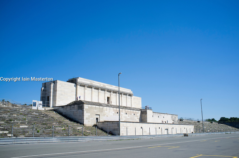 The former grandstand of Nazi party rally gounds at Zeppelinfeld in Nuremberg in Bavaria Germany