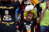 A Morpeth Town fan celebrates during the FA Vase match between Hereford FC  and Morpeth Town at Wembley Stadium, London, England on 22 May 2016. Photo by Dennis Goodwin.
