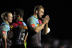 Chris Robshaw of Harlequins acknowledges the crowd after the match - Mandatory byline: Patrick Khachfe/JMP - 07966 386802 - 06/11/2015 - RUGBY UNION - The Twickenham Stoop - London, England - Harlequins v Sale Sharks - Aviva Premiership.
