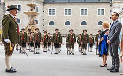 28.07.2016, Residenzplatz, Salzburg, AUT, Salzburger Festspiele, Eroeffnungsakt, im Bild Schützen bei der Meldung an Nationalratspraesidentin Doris Bures (SPOe) und Bundeskanzler Christian Kern (SPOe) // the Schuetzten speaks to the National Council President Doris Bures (SPOe) and Chancellor Christian Kern (SPOe) during the Opening Ceremony of the Salzburg Festival, it takes place from 22 July to 31 August 2016, at the Residenzplatz in Salzburg, Austria on 2016/07/28. EXPA Pictures © 2016, PhotoCredit: EXPA/ JFK