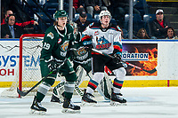 KELOWNA, BC - FEBRUARY 28: Wyatte Wylie #29 and Dustin Wolf #32 of the Everett Silvertips defend the net against  Mark Liwiski #9 of the Kelowna Rockets at Prospera Place on February 28, 2020 in Kelowna, Canada. Wolf was selected in the 2019 NHL entry draft by the Calgary Flames. Wylie is a 2018 NHL entry draft pick of the Philladelphia Flyers. (Photo by Marissa Baecker/Shoot the Breeze)